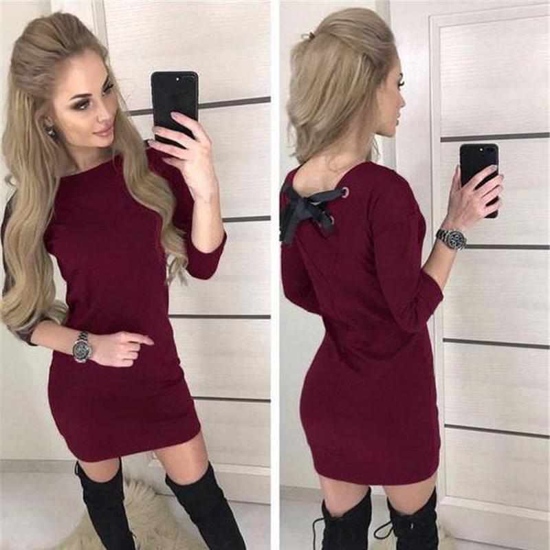 Herbst 2018 Frauen Casual Drei Viertel Hülse Kleid Vintage Weihnachten Party Kleider Herbst Sexy Schwarz Rot Backless Mini Kleid