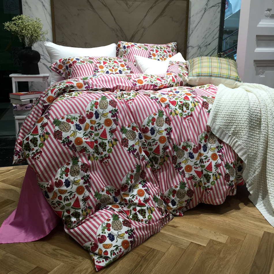 Bed sheets designs patchwork - Romantic Bedding Set King Queen Size Heart Print Fruit Designer Bedding Duvet Cover Bed Sheet Pillowcase