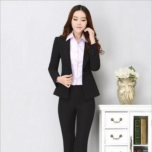 8c35859103e18 Womens Suits Blazer With Pants Office Wear Uniform Pants and Blazers Formal  Suit For Ladies Black
