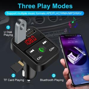 Image 3 - سيارة عدة بلوتوث يدوي لاسلكي FM الارسال TF بطاقة LCD مشغل MP3 شاحن USB مزدوج اكسسوارات السيارات شاحن الهاتف 2.1A