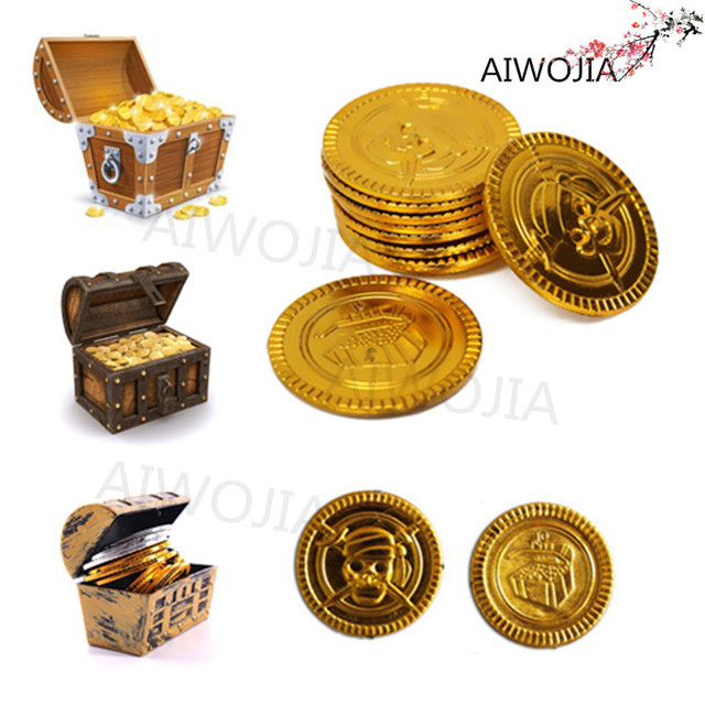 Treasure Toys Cartoon : Pcs plastic captain pirate treasure gold coins props