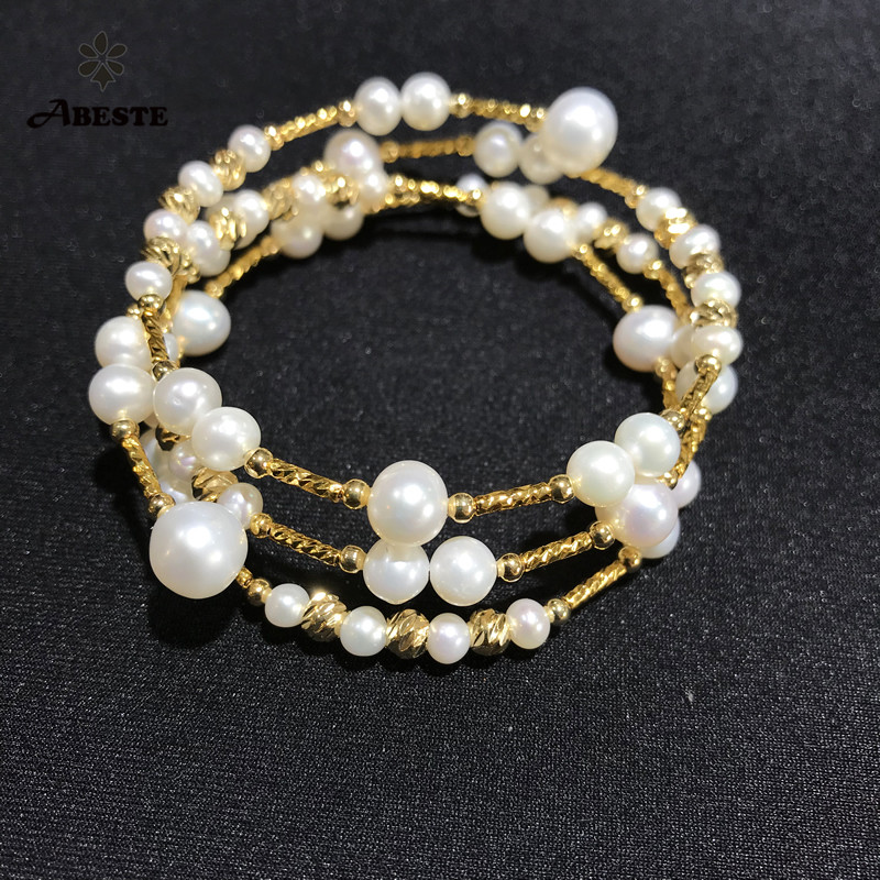 ANI 14K Roll Yellow Gold Pearl Bracelet Round Shape Pearl Jewelry Fashion Natural Freshwater White Pearl