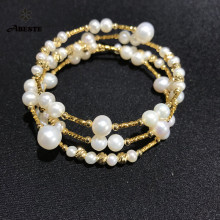 ANI 14K Roll Yellow Gold Pearl Bracelet Round Shape Jewelry Fashion Natural Freshwater White for Women Gift