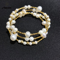ANI 14K Roll Yellow Gold Pearl Bracelet Round Shape Pearl Jewelry Fashion Natural Freshwater White Pearl Bracelet for Women Gift