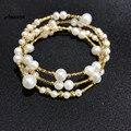 Ani 14 k rolo amarelo ouro pérola pulseira forma redonda pérola jóias moda natural de água doce branco pérola pulseira para presente feminino
