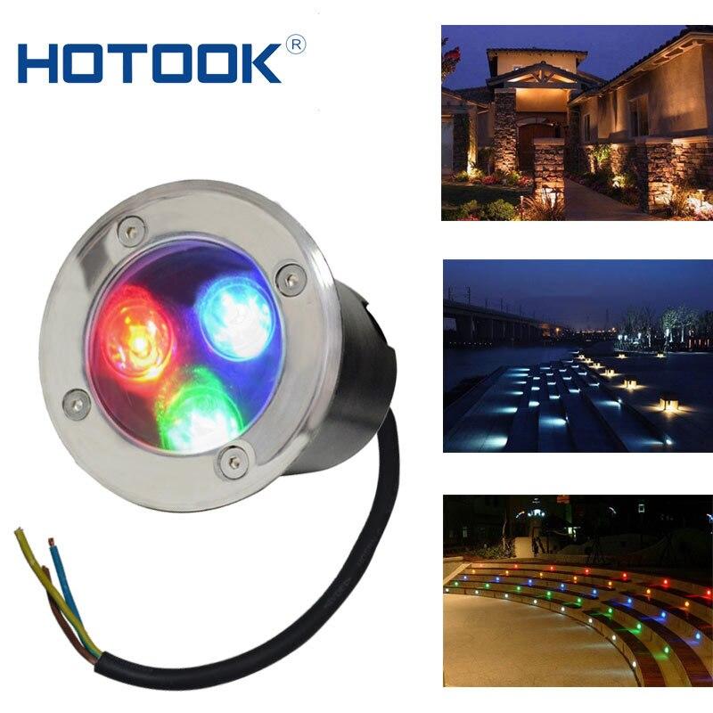 HOTOOK underground light 3W AC 12V 24V RGB LED lamp IP67 Waterproof Stainless Steel Garden Square Outdoor Landscape Lighting