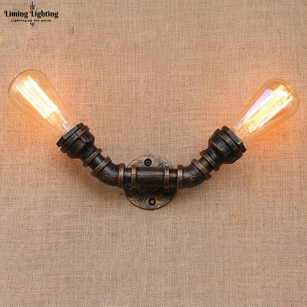 Loft Industrial 2 Lights Iron Rust Water Pipe Retro Wall Lamp Vintage E27 Sconce Lights ST64 Living Room Bedroom Steampunk BarLoft Industrial 2 Lights Iron Rust Water Pipe Retro Wall Lamp Vintage E27 Sconce Lights ST64 Living Room Bedroom Steampunk Bar