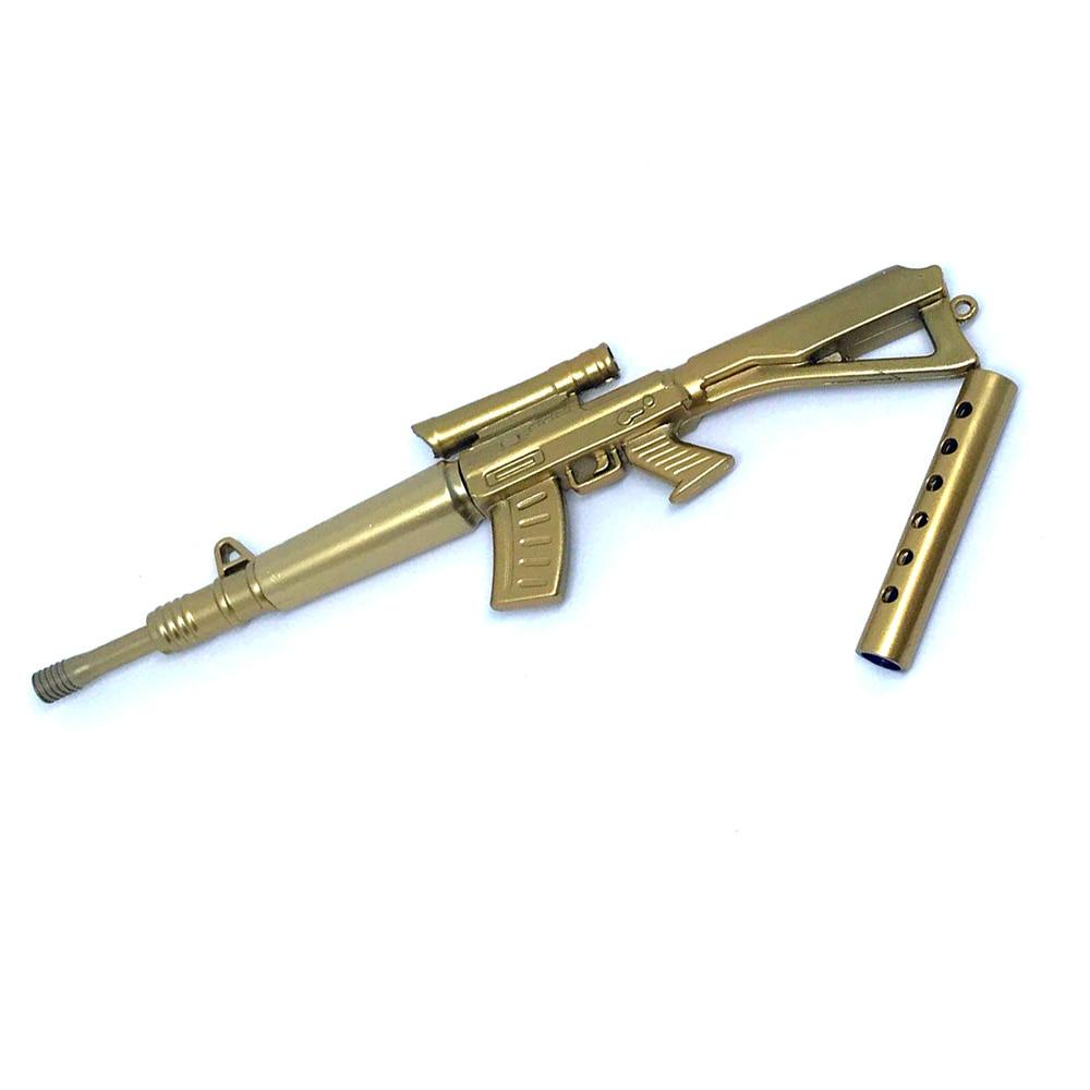 Gold Rifle Shape Black Ink Ballpoint Pen Stationery Office Ball Point Novelty Gift