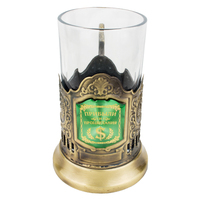 Profits And Prosperity Charm Brand Unique1 Set 200ml Metal Cup Saucers Table Glass Cup Holder