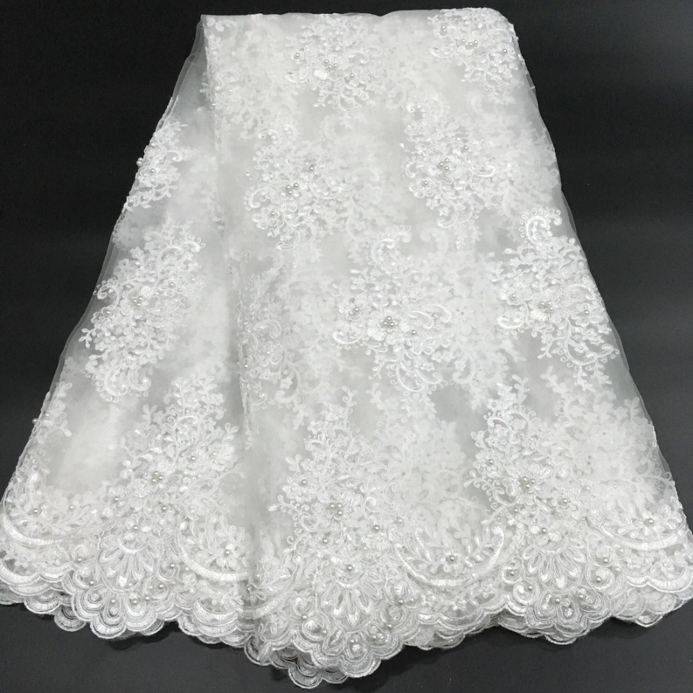 African French Beaded Lace Fabric 2019 High Quality Lace White Lace Fabric Nigerian Tulle Mesh Lace