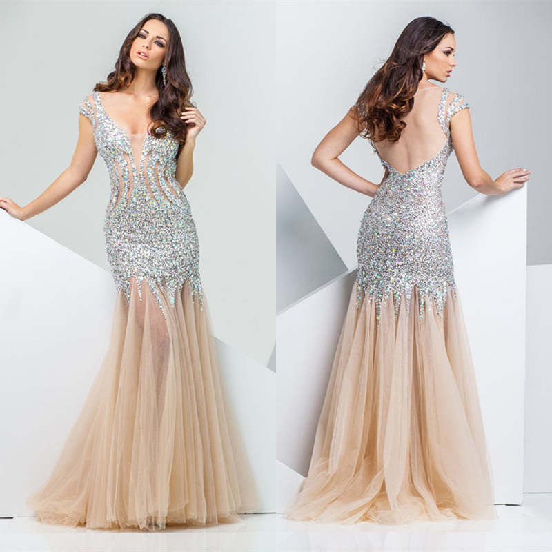 Luxurious Crystal Mermaid Evening Dresses Y Champagne Backless Prom Dress Cut Out Beaded Military Ball Ed197 In From Weddings
