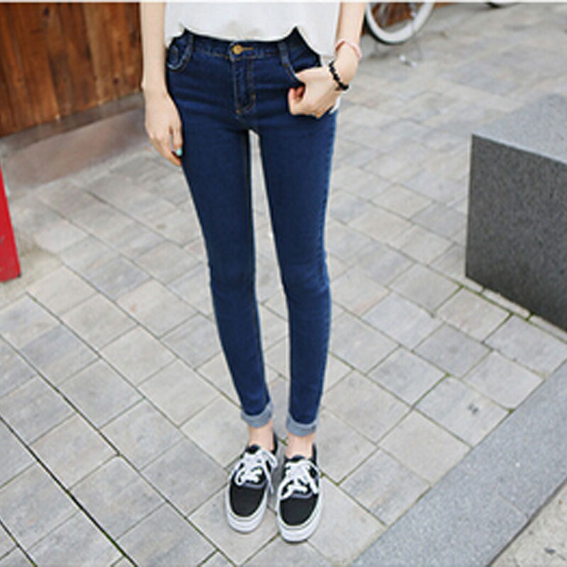 Autumn Women High Waist Jeans Casual Denim Skinny Plus Size Pencil Pants casual tight  slim female trousers free shipping,JJ1039 2017 new skinny jeans lady jeans pants blue low waist slim pencil pants denim jeans women trousers size 5xl free shipping