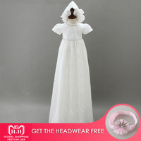 2Pcs High end Baby Girls Christening Gowns Newborn Baptism Long Trailing Dress For Princess Infant 1 Year Birthday Party Wear