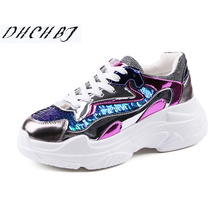 2019 spring Women Sneakers Fashion sequins Thick Sole Ladies Platform Shoes Height Increasing Chunky Shoes Women Casual Shoes