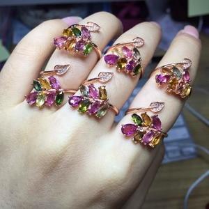 Image 5 - [MeiBaPJธรรมชาติทัวร์มาลีนอัญมณีแฟชั่นที่มีสีสันหินแหวนสำหรับสตรีจริง 925 เงินสเตอร์ลิงCharmเครื่องประดับFine