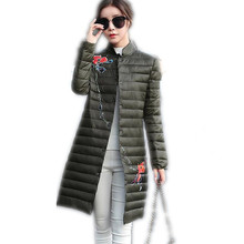 2018New Fashion Winter &Autumn Women Down Cotton Long Jacket Parka Female Light&Thin Single Breasted Cotton Slim Warm ParkaCQ413