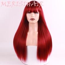 Merisi 머리 긴 스트레이트 라이트 금발 가발 여성을위한 아프리카 계 미국인 합성 가발 내열성