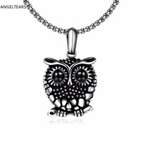 Hot Sales 316L Stainless Steel Owl Pendant Necklace Vintage Punk Jewelry For Women And Men Party