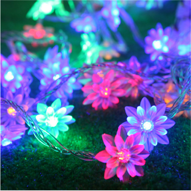 AC220V 4M 20 LED Lotus Flower lamps String Fairy lights for Indoor and Outdoor Wedding/Christmas party/Garland Patio Decoration solar string lights 50 led blossom flower fairy light christmas lights for outdoor led garland patio party wedding decoration