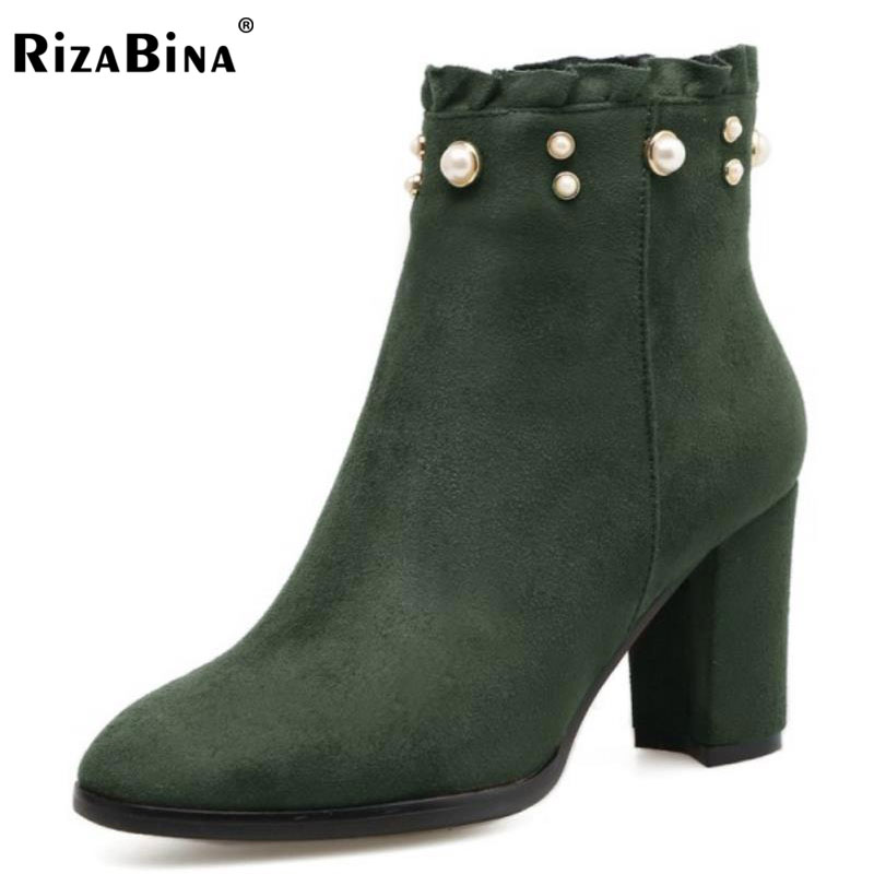 RizaBina Ladies Ankle Boots Round Toe Square Heel String Bead Side Zipper Women Shoes Mature Dress Footwear Size 33-41 women platform square high heel ankle boots fashion side zipper round toe shoes woman black white beige