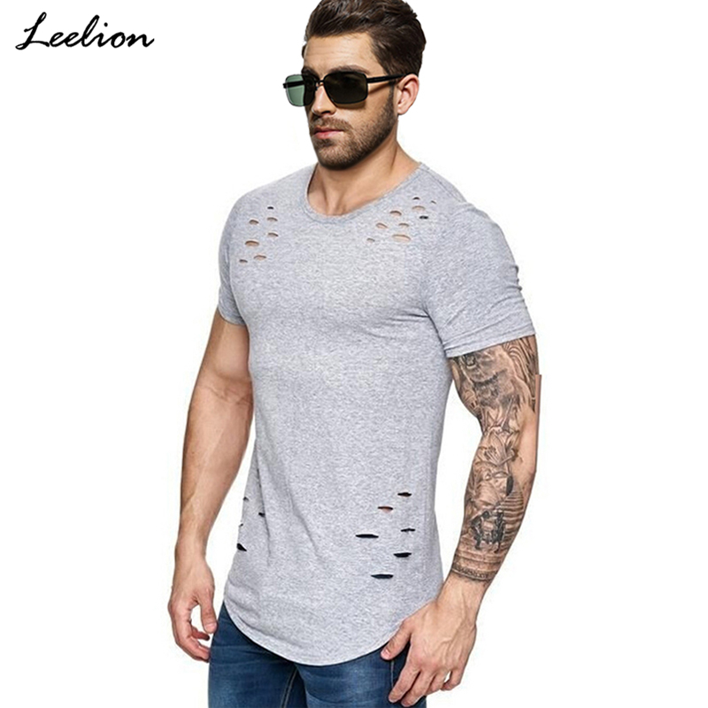 LeeLion 2018 New Spring Long T Shirt Men Fashion Hole Design Fitness T-shirt Summer Short Sleeve Solid Slim Fit Hip Hop Tshirt