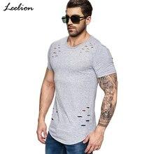 IceLion 2019 New Spring Short T Shirt Men Fashion Hole Design Fitness T shirt Summer Short