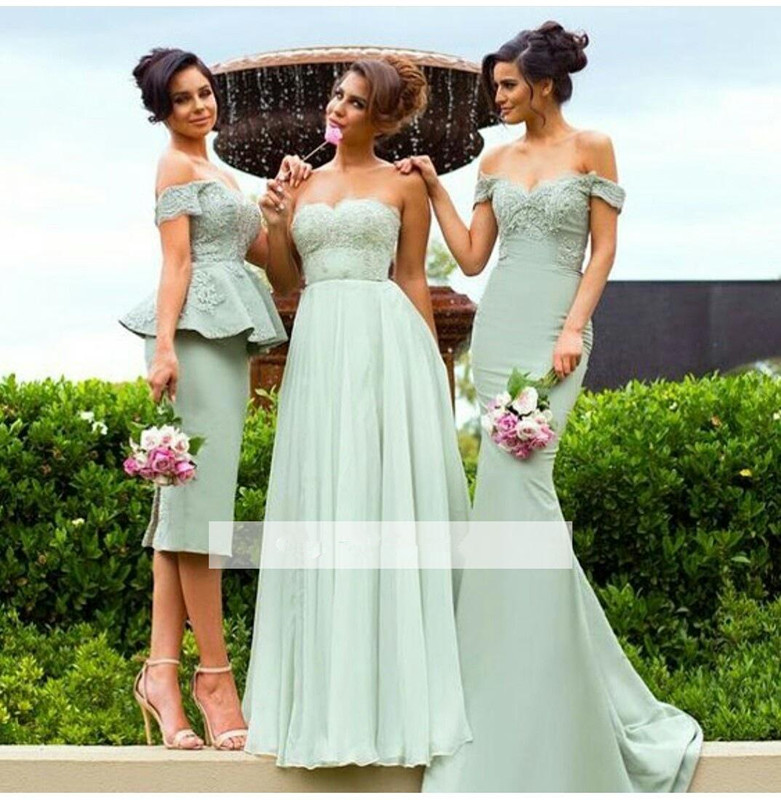Mint Green 2019 Cheap   Bridesmaid     Dresses   Under 50 Mermaid Off The Shoulder Lace Long Wedding Party   Dresses   For Women