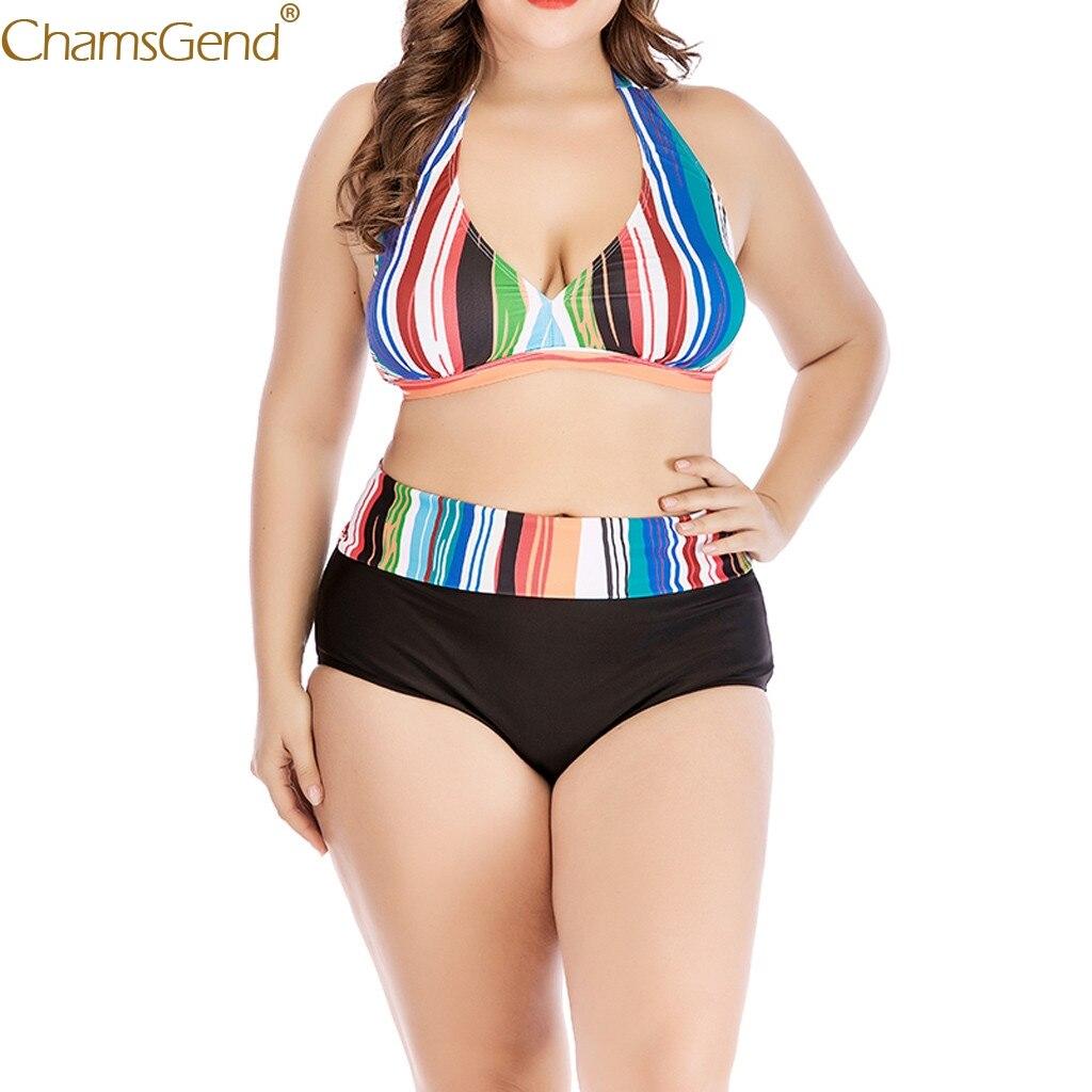 Women  Plus Size High Wais Multicolor bra brief sets Rainbow Stripe Push Up Padded sexy bra brief sets underwear Causal Jun25
