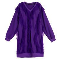 3c3de2bf4 Ruffles Patchwork Purple Elegant Sweatshirts Female O Neck Casual Style  Loose Long Pullovers 2018 Autumn Fashion