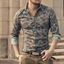 Новинка, модные повседневные мужские рубашки с длинным рукавом, Европейский стиль, приталенная рубашка, Мужская Высококачественная хлопковая рубашка с цветочным рисунком, S2124