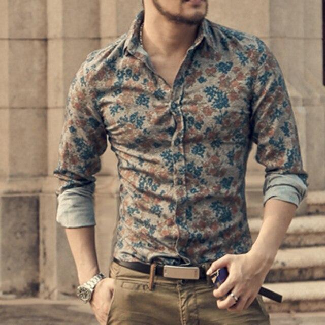 2db963ac860b New Fashion Casual Men Shirt Long Sleeve Europe Style Slim Fit Shirt Men  High Quality Cotton Floral Shirt S2124