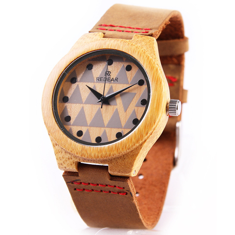 REDEAR Watch Fashion Japan Movement Bamboo Wooden Wristwatches Genuine Leather Wood Watch Men Watch Clock saat relogio masculino redear vintage full wood wrist watches men watch ebony bamboo wooden watches wood strap men s watch japanese movement clock saat