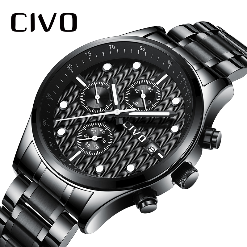 CIVO Mens Watches 2019 Luxury Brand Watch For Men Waterproof Chronograph Analogue Quartz Wrist Watch Man Clock Relogio Masculino