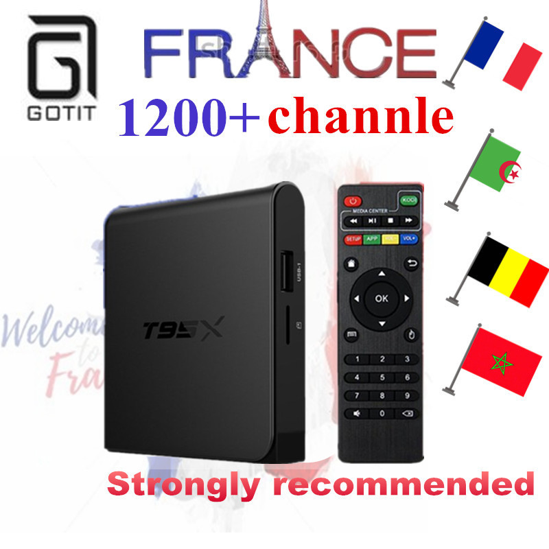 GOTiT T95X French IPTV Android 6.0 Amlogic S905X 4K TV Box Quad Core+1200+ NEOPLUS Pro Account Smart TV Box as X96 h96 A95X BOX