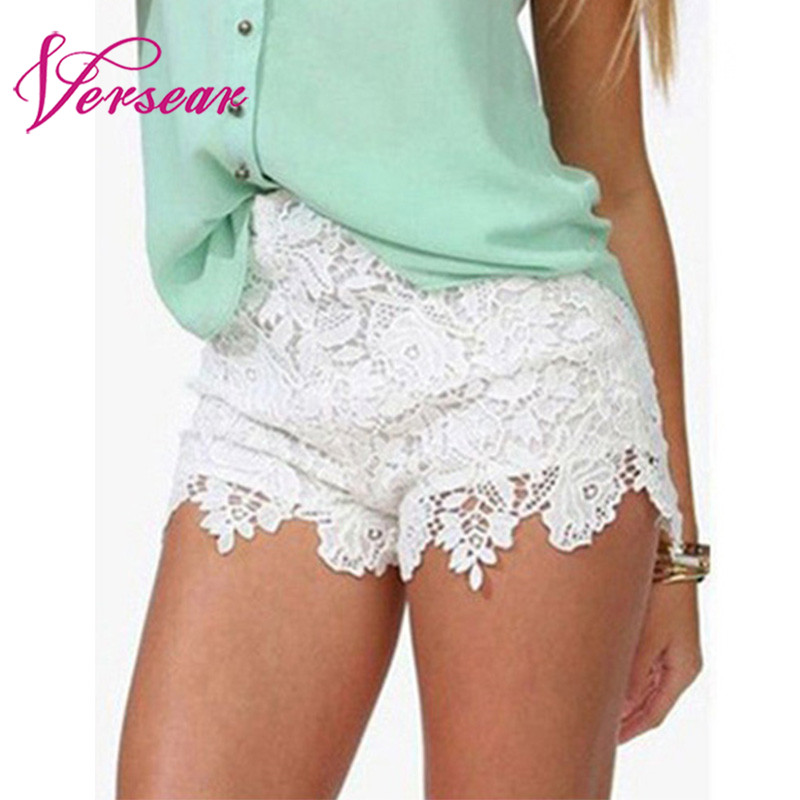 Versear Korean Style Women's   Shorts   Large Size White Black Elegant Sexy High Waist Beach Crochet Lace Capris Summer women clothe