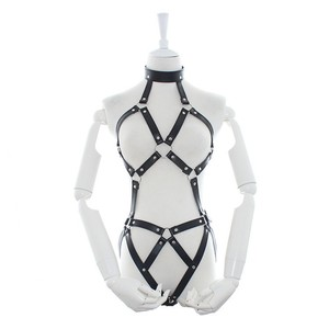 Image 2 - Womens PU Leather Strappy Fetish Body Harness Halter Neck Teddies Cupless G String Back Bodysuit Erotic Costume Lingerie Set