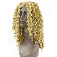 Soowee Long Synthetic Hair Blonde Color Deep Curly Wig For Black Women Party Hairstyle Cosplay Wigs