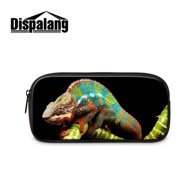 d7156cedbec6 US $7.79 40% OFF Lizard Animal Print Children Pencil Case Cool Pen Bag  Pouch For School Women Travel Cosmetic Case Admission Package Makeup Bag-in  ...