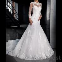 2017 Mermaid Lace Wedding Dresses Long Sleeve Illusion Back Neck O Neck Appliques Bridal Vestidos De