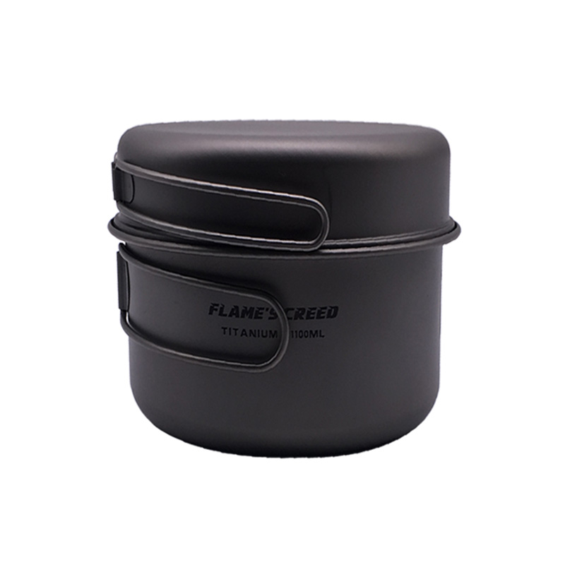 FLAME'S CREED Ultralight Titanium Pan Outdoor Camping Titanium Bowl Set Folding Handle Cookware CKW750ML CKW 1100ML