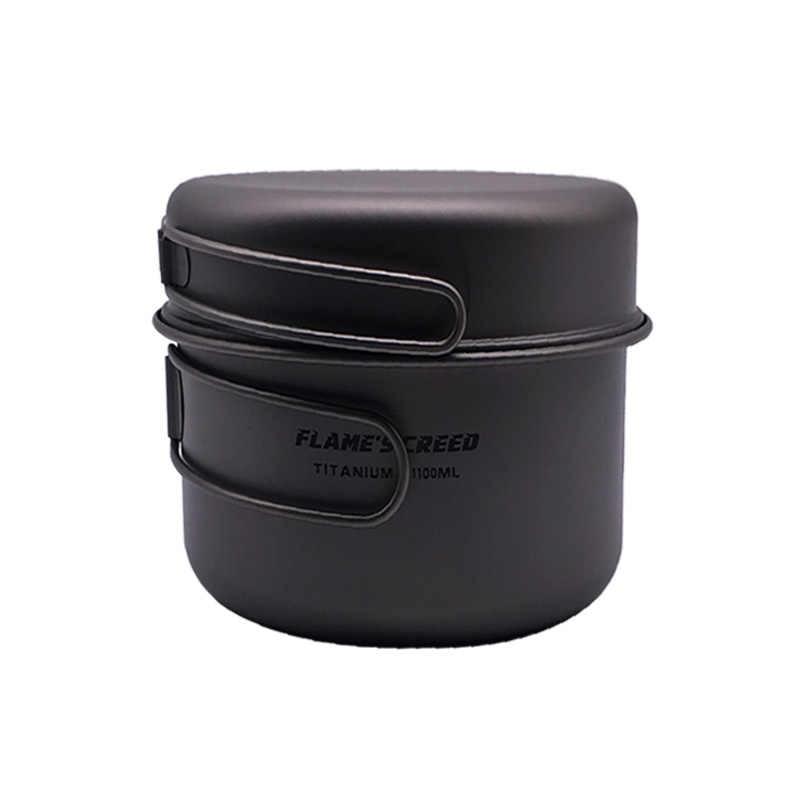 FLAME'S CREED Сверхлегкая титановая сковорода для кемпинга, набор титановых чаш, складная ручка, кухонная посуда CKW750ML CKW 1100 мл