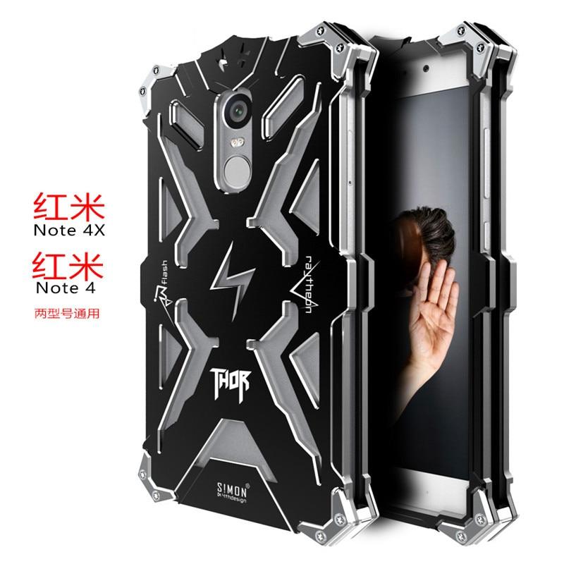 Luxury Doom Thor Heavy Duty Armor Metal Aluminum Mobile Phone Bag Case For Xiaomi Redmi Note