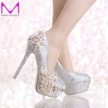Luxurious Wedding Shoes Silver Rhinestone with Phoenix Platform Women Shoes Graduation Party High Heel Shoes Ceremony