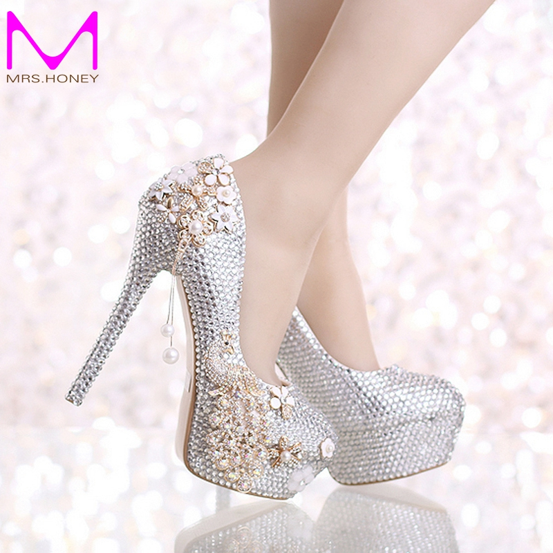 Luxurious Wedding font b Shoes b font Silver Rhinestone with Phoenix Platform Women font b Shoes
