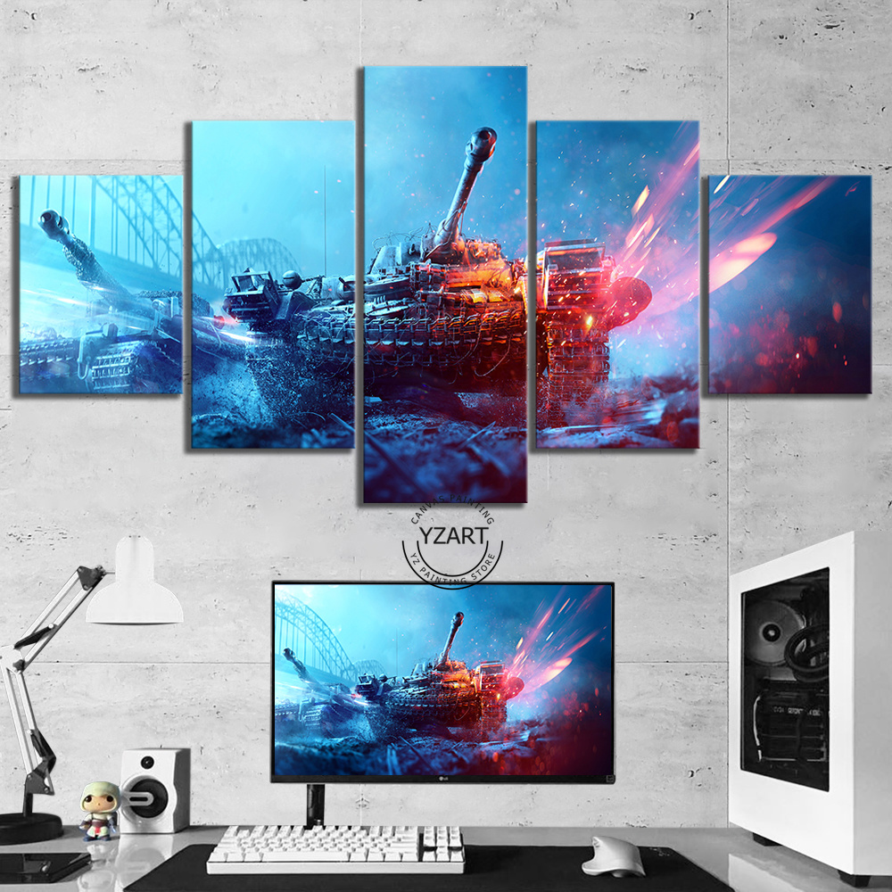5 Piece Battlefield 5 Game Poster Tanks Pictures Canvas Art Wall Paintings for Home Decor