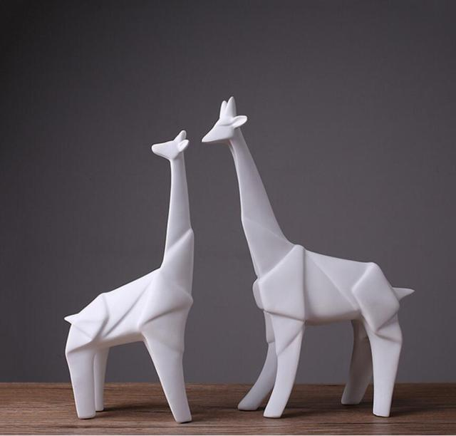 Very best Minimalist Origami ceramic giraffe deer statue home decor crafts  JT97