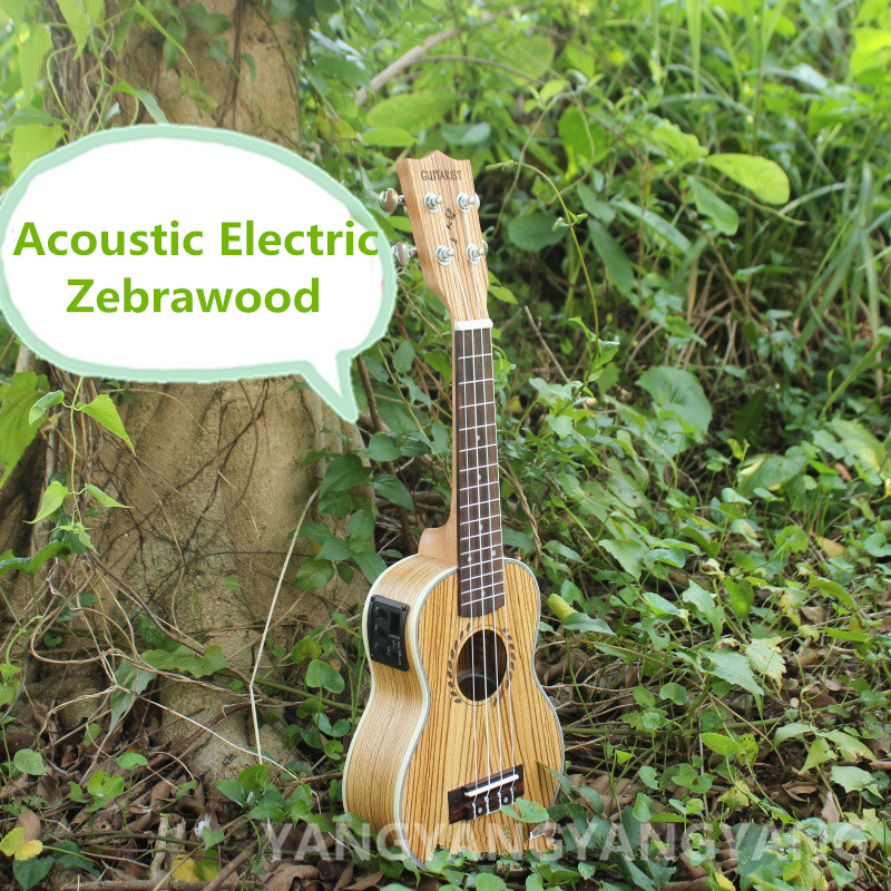 Soprano Acoustic Electric Ukulele 21 Inch Guitar  4 Strings Ukelele Guitarra Handcraft Wood White Uke Zebrawood Pick Up two way regulating lever acoustic classical electric guitar neck truss rod adjustment core guitar parts