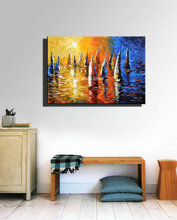 Seascapa Abstract modern decoraitive wall panel art knife painting hand painted canvas oil painting set for living room deco