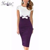 Nemidor 2016 Women Elegant O Neck Patchwork Bodycon Dress Bow Short Sleeve Formal Knee Length Pencil
