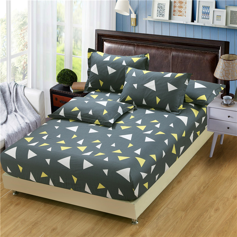 3PCS fitted sheet 100% cotton twin double queen size Mattress cover pure cotton <font><b>bed</b></font> sheet <font><b>with</b></font> elastic and 48x74cm pillowcase